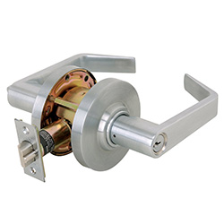 A commercial door handle and lock provided by Optima Security, Inc. in Jacksonville, FL