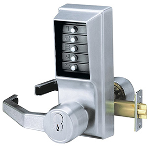 A commercial door lock with a keypad provided by Optima Security, Inc. in Jacksonville, FL